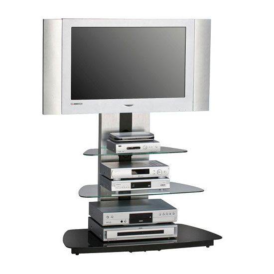 Joy Metal Frame Alu Brushed TV Stand With 3 Black Glass Shelves