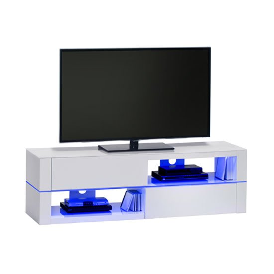 Jimmy White High Gloss LCD TV Stand With LED Light And Drawers