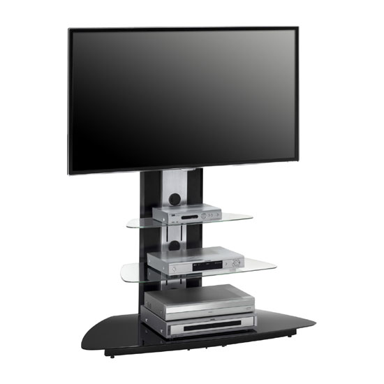 Kerry Metal Alu Brushed LCD TV Stand With Black Glass Base
