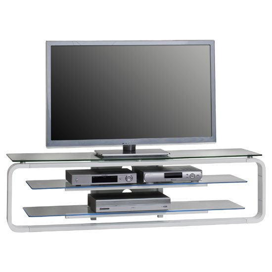 Harley White High Gloss Clear Glass Top LCD TV Stand With LED