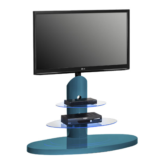 Marzouk Blue High Gloss Finish LCD TV Stand With LED Light