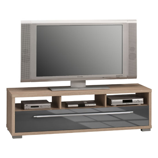 pearl sonoma oak finish lcd tv stand with drawer and open. Black Bedroom Furniture Sets. Home Design Ideas