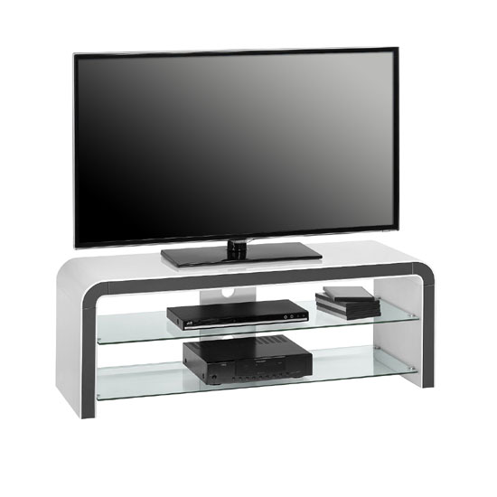kaira white high gloss lcd tv stand with clear glass. Black Bedroom Furniture Sets. Home Design Ideas