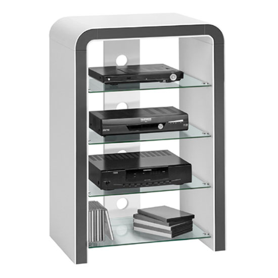 Remo Metal Dark Grey With White High Gloss Finish Hi-Fi Stand