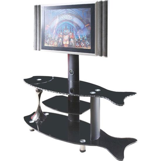 Fish Shaped Black Glass Plasma LCD TV Stand