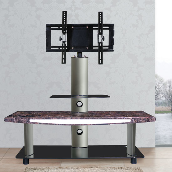 Modern Brown Marble Effect LCD TV Stand With Iron Bracket