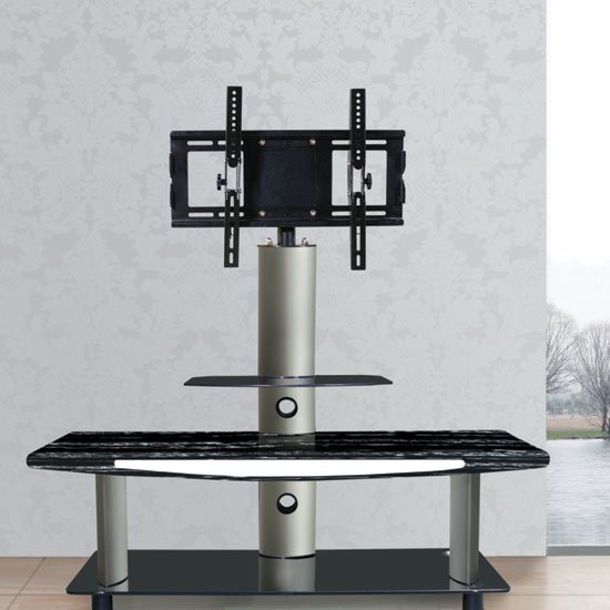 Modern Black Marble Effect LCD TV Stand With Iron Bracket