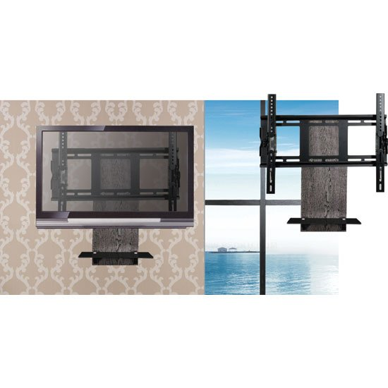 Starc Black Finish Wall Shelf With TV Bracket