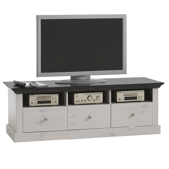 Monika LCD TV Stand In Solid Pine White Wash With 3 Drawers
