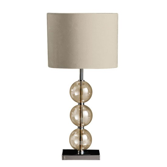 Mistro Amber Glass Balls Table Lamp with Chrome Base