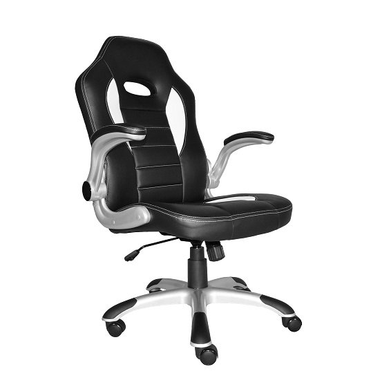 Witney Home Office Chair In White And Black Faux Leather_3
