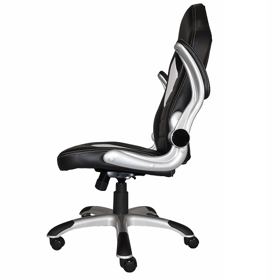 Witney Home Office Chair In White And Black Faux Leather_2