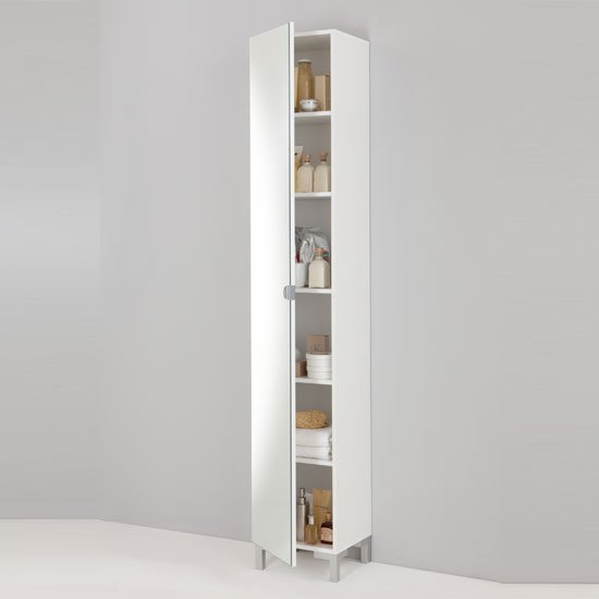 Tarragona bathroom cabinet floor standing in white 10138 for Floor standing mirrored bathroom cabinet