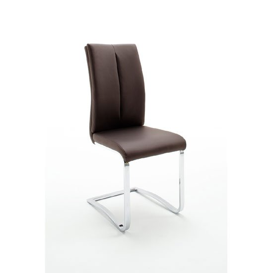 Tavis Metal Swinging Brown Faux Leather Dining Chair