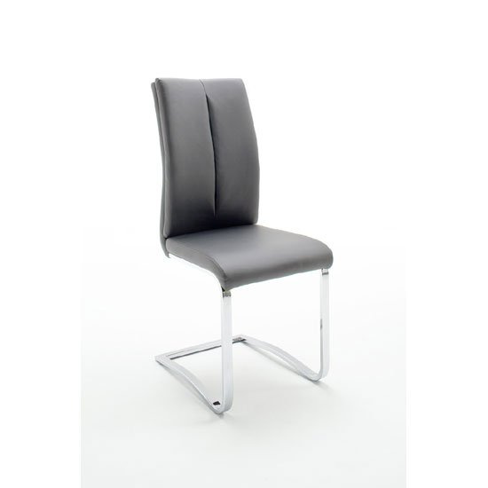Tavis Metal Swinging Grey Faux Leather Dining Chair