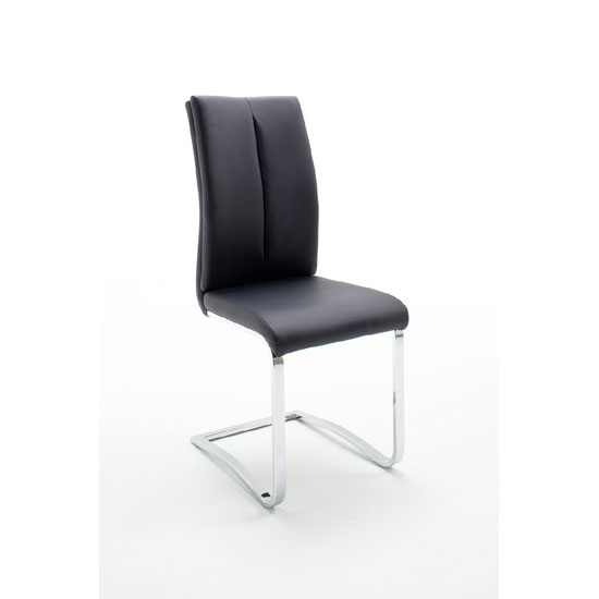 Tavis Metal Swinging Black Faux Leather Dining Chair