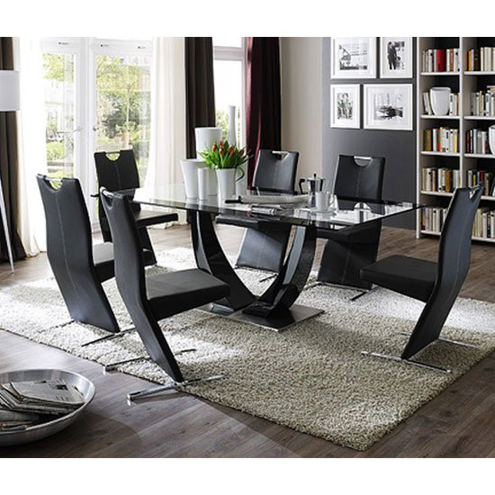 Tavolo Gloss Black Pedestal Dining  And 8 Image Dining Chairs