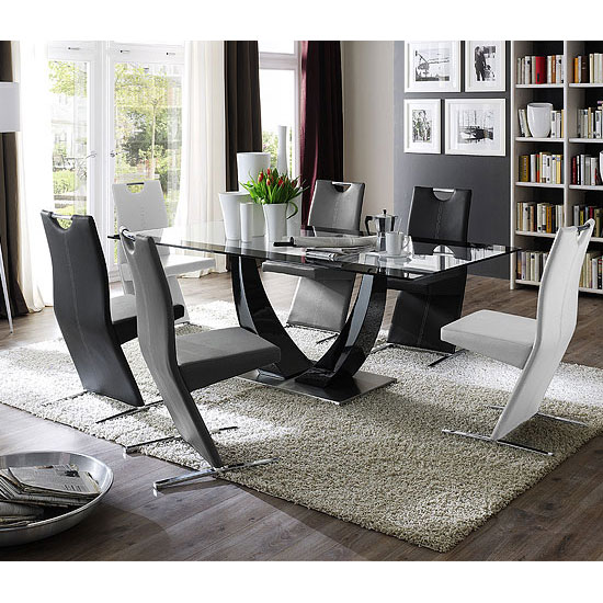 Tavolo Glass Top Black Pedestal Dining Table And 6 Dining Chairs