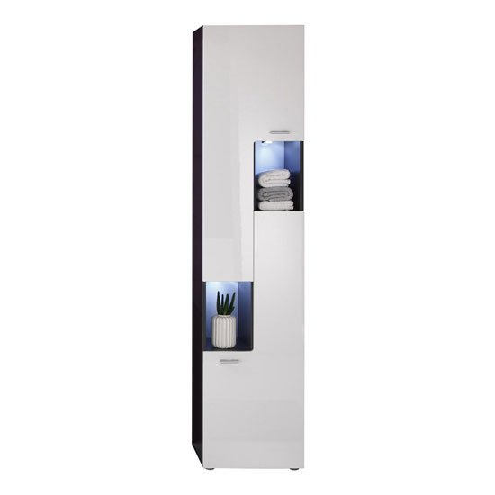 Tetis Bathroom Cabinet Right In Graphite And White Gloss Fronts