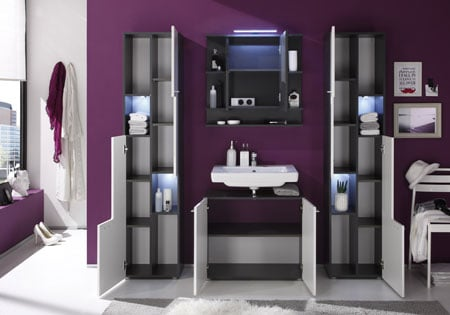 Tetis Vanity Cabinet In Graphite And White High Gloss Fronts