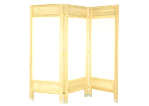 Three Panel Wooden Room Divider Screen In Natural