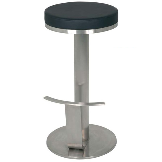 Tiago Bar Stool In Black Genuine Leather With Footrest