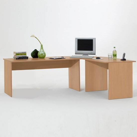 Contemporary Beech Corner Computer Desk/Table, Till