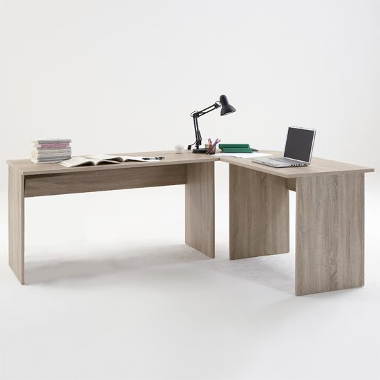 Photo of Till modern corner computer desk in canadian oak
