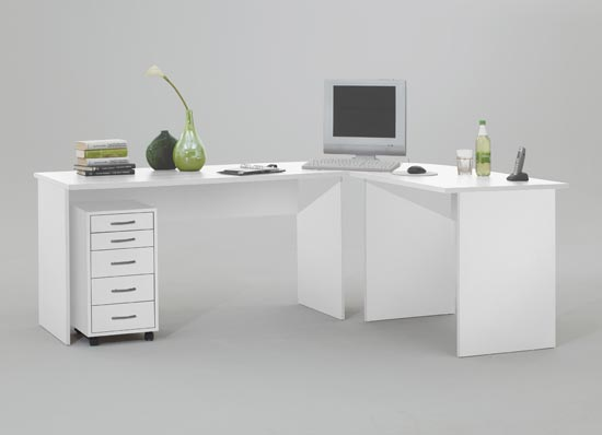 Till Wooden Corner Computer Desk In White