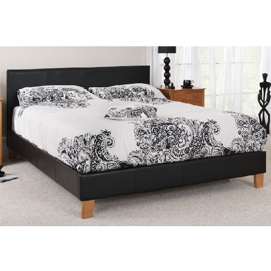 Tivolin Bed In Black Faux Leather With Wooden Legs_4