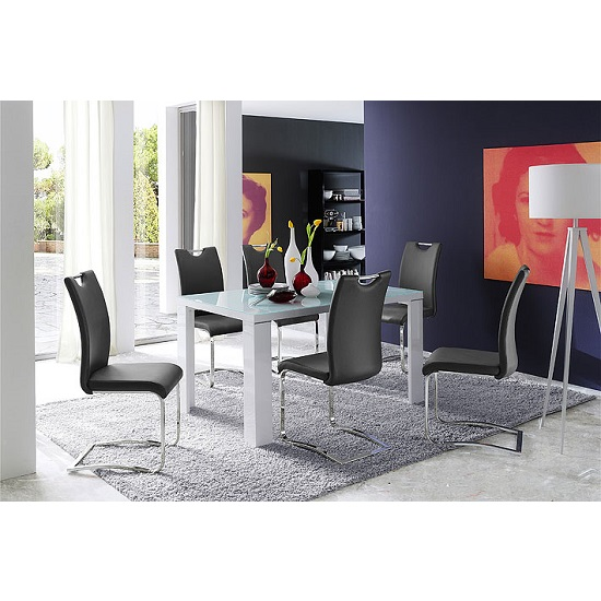 Tizio Glass Dining Table In White Gloss With 6 Koln Grey Chairs