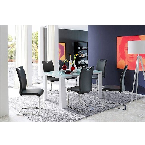 Tizio Glass Dining Table In White Gloss With 6 Koln Black Chairs