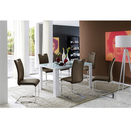 Tizio Glass 160cm Dining Table In White Gloss With 6 Koln Chairs_3