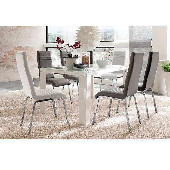 Tizio Glass 120cm Dining Table In White Gloss With 4 Dora Chairs_1