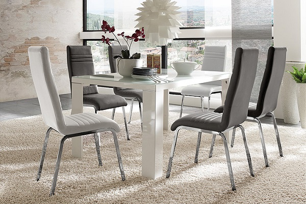 Tizio Gl 140cm Dining Table In White Gloss With 6 Dora Chairs 1