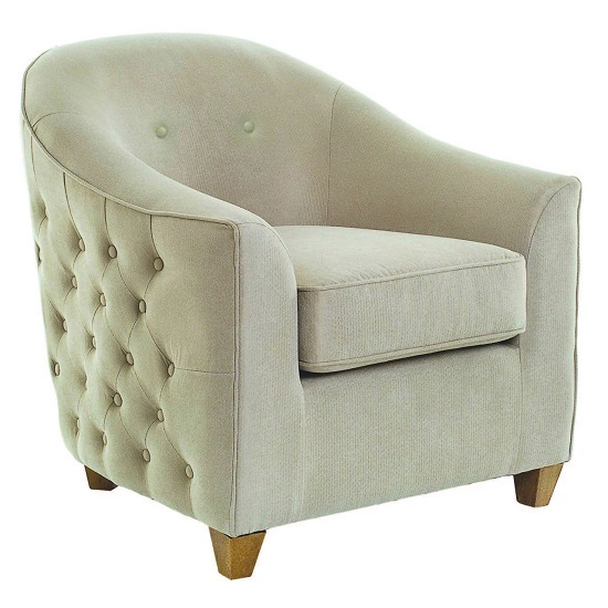 Saldus Armchair In Cream Fabric With Wooden Legs