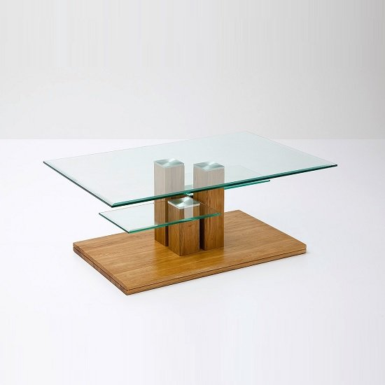 Evesham Glass Coffee Table In Clear With Knotty Oak Base