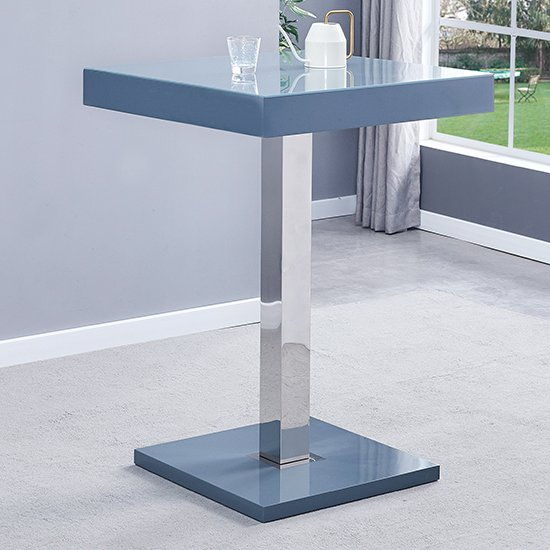 Topaz Glass Bar Table In Grey With 2 Copez White Grey Stools_2