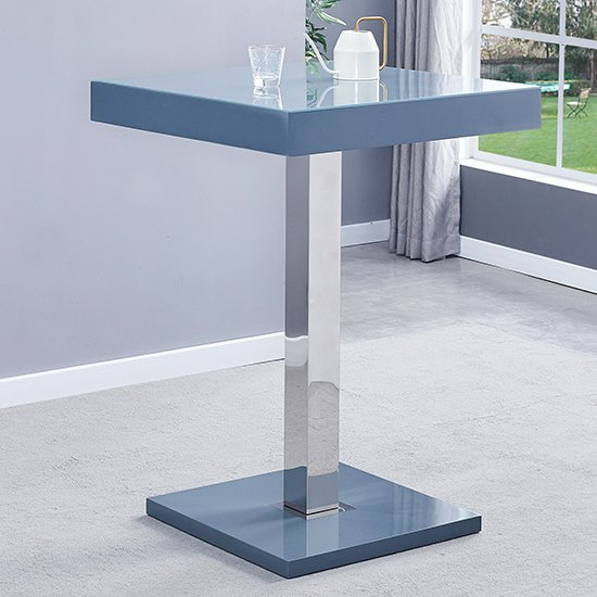 Topaz Modern Bar Table In Grey High Gloss With 4 Ritz Stools_2