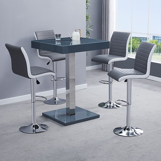 Topaz Modern Bar Table In Grey High Gloss With 4 Ritz Stools_1