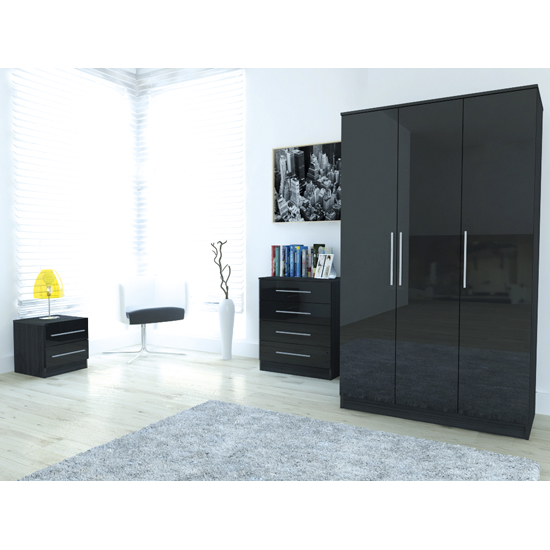 Ontario 3 Door Wardrobe In Black High Gloss