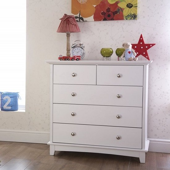 Tornado Wooden Chest Of Drawers In White With 3+2 Drawers