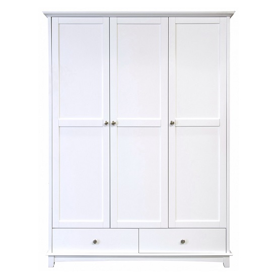 Tornado 3 Door Wooden Wardrobe In White With 2 Drawers 27513