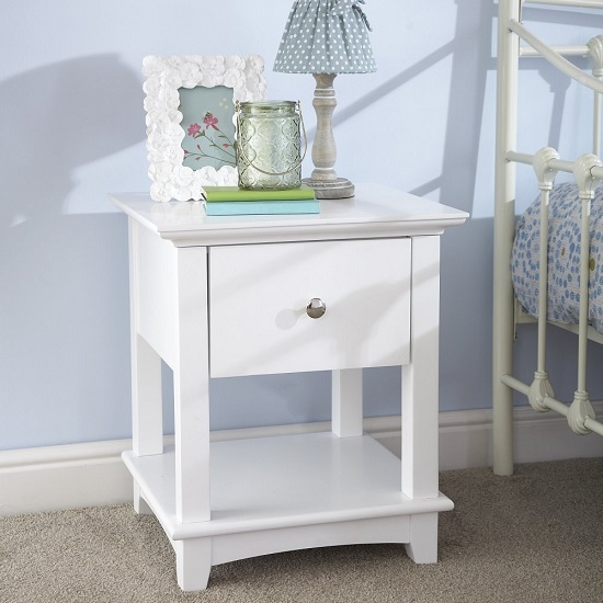 Tornado Wooden Bedside Cabinet In White With 1 Drawer