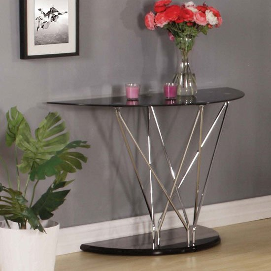 Toulouse Console Table In Black Glass And Chrome Legs