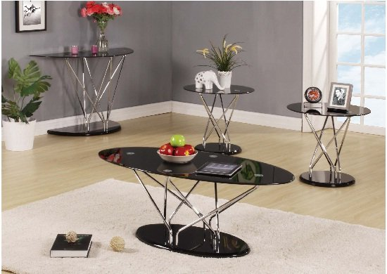 Toulouse Coffee Table in Black Glass And Twin Lamp Tables Set