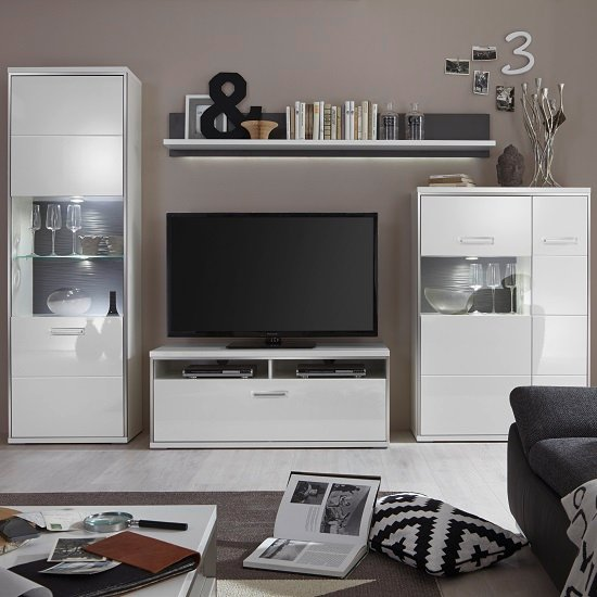 Read more about Libya living room set 2 in white high gloss with led lighting