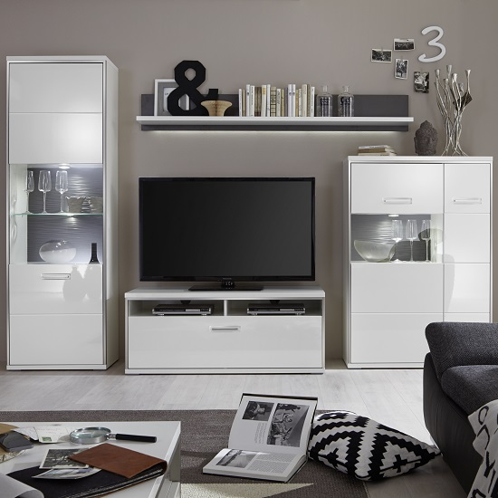 Image of Libya Living Room Set 2 In White High Gloss With LED Lighting