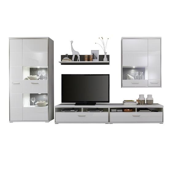 Libya Living Room Set 4 In White High Gloss With Led Lighting 2