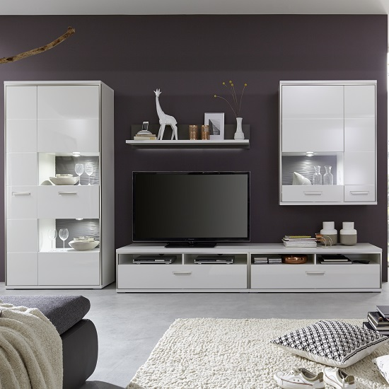 Libya Living Room Set 4 In White High Gloss With LED Lighting